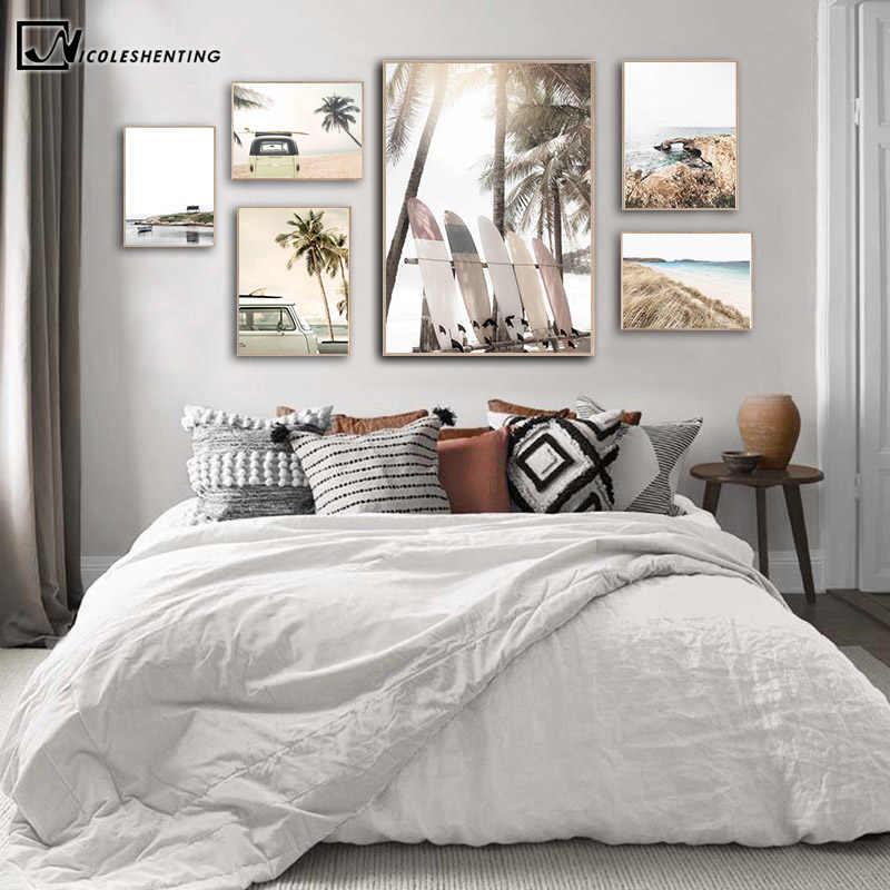 열대 여름 바다 해변 여행 포스터 인쇄 일몰 코코넛 서핑 보드 자동차 캔버스 아트 페인팅 바다 풍경 사진 벽 장식