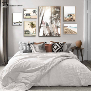 Tropical Summer Sea Beach Travel Poster Print Sunset Coconut Surfboard Car Canvas Art Painting Seascape Picture Wall Decoration