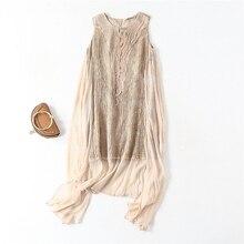 Robe en soie pour femmes, tissu haut de gamme 100% soie, Patchwork avec des applications Ramie, col rond, 2 couleurs, nouvelle mode 100%