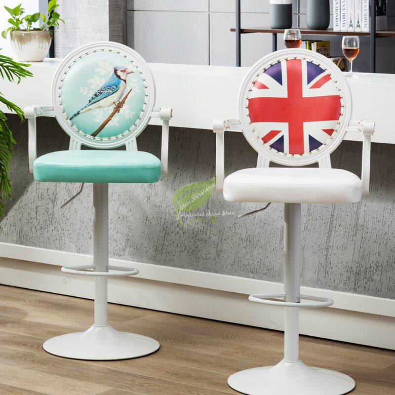 Modern Bar Stool  Tabouret De Bar Chair  With Handle Make Up Chair Beauty Salon Furniture Commecial