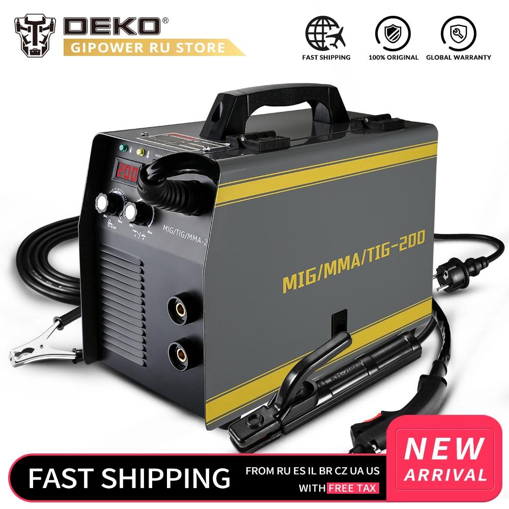 Deko MKA-200 mig/tig/mma 3 em 1, máquina de solda elétrica mig soldador 5.6kva 220v 50/pistola de solda integrada 60hz