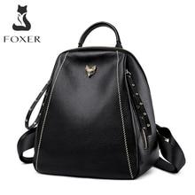 FOXER Fashion Genuine Leather Teen School Bag Women High Quality Travel Backpack Soft Female Business Bag Brand Girl Backpack