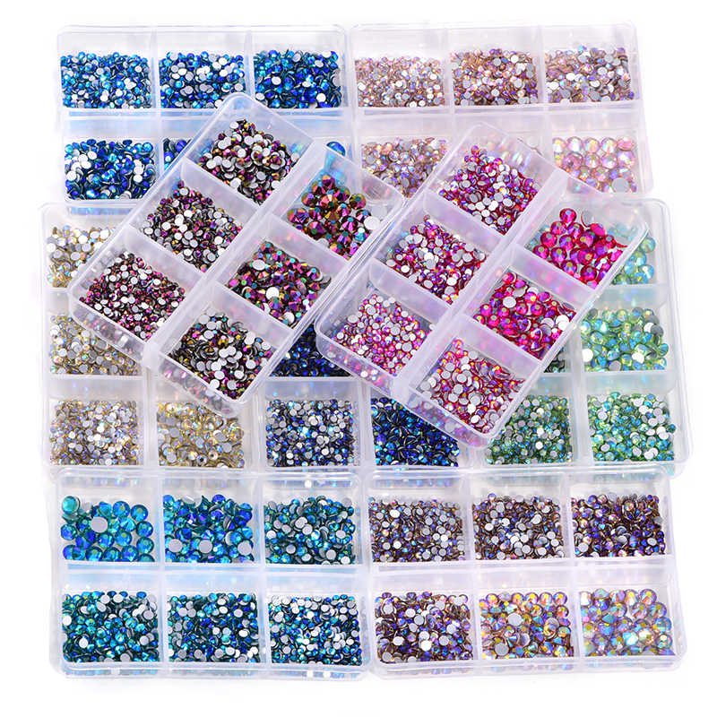 1200Pcs Mix Maten Glas Crystal Ab Niet Hotfix Strass Set Plaksteen Glas Steen Nail Art Rhinestones Voor Diy Decoraties b3914