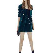 Женская одежда, темно-зеленый Бархатный комплект из двух предметов, двубортный женский жакет на пуговицах с длинным рукавом+ бархатные короткие юбки