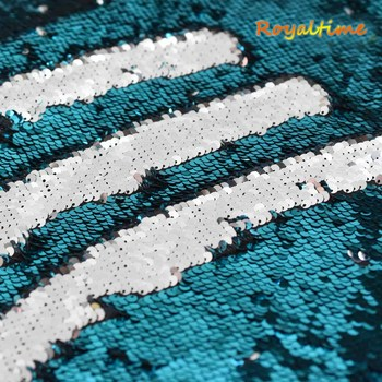 Double Face Sequins Fabric For Handbags Garments DIY Tissue Sewing Fabric Material Craft Making Accessories-Turquoise/Silver image