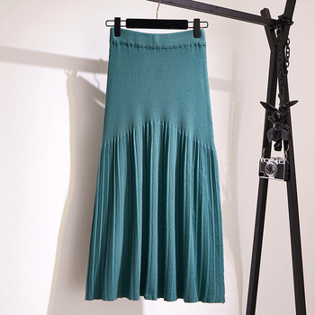 Winter Autumn 2019 Skirts Womens Knitting Wool Pleated Long Skirt Buttons High Waist Elastic Large Hem Saia Midi Skirts 3