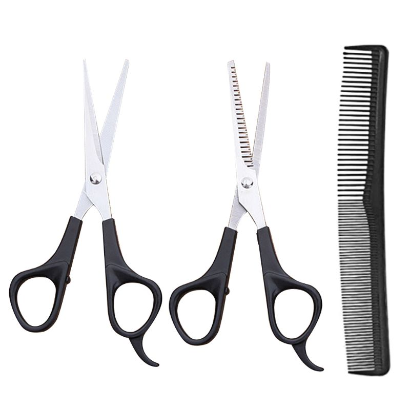 3 Pcs Hair Scissors Barber Hair Cutting Thinning Hairdressing Set Professional Styling Tool with Comb for Salon