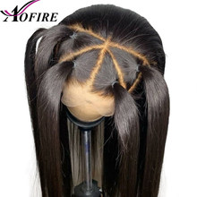 Transparent Lace Straight Remy Brazilian Pre Plucked 13*6 Lace Front Human Hair Wigs For Blank Woman With Baby Hair Natural Hair(China)
