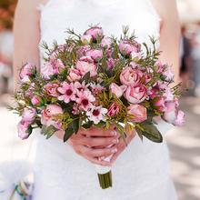 2 bukiety z jedwabiu bukiet sztuczne kwiaty 5 duża głowa 4 małe pąki ślubne wesele strona główna dekoracyjne sztuczne kwiaty sztuczne kwiaty tanie tanio CN (pochodzenie) JH-CH Róża Bukiet kwiatów Dzień matki Orange Pink White Blue 3 Bundle 5 Head Artificial Camellia