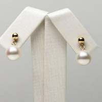 free shipiing White Real Akoya Cultured Pearl Ear Drop Dangle Earrings 14k Yellow Gold 8.5 9mm
