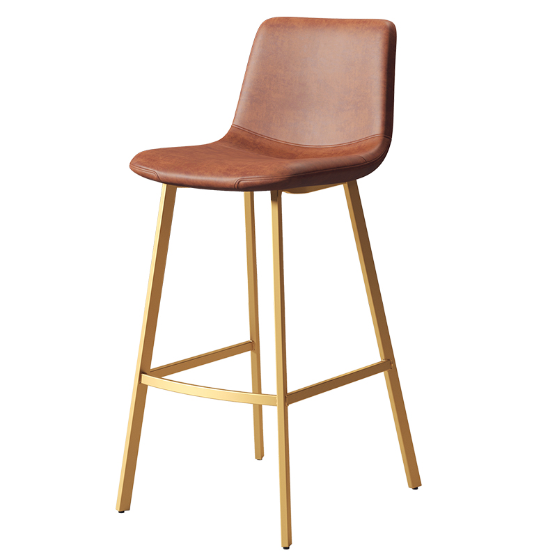 Nordic Light Luxury Iron Home Simple Bar Stool High Stool Bar Chair Leisure Cafe Net Red Back Dining Chair