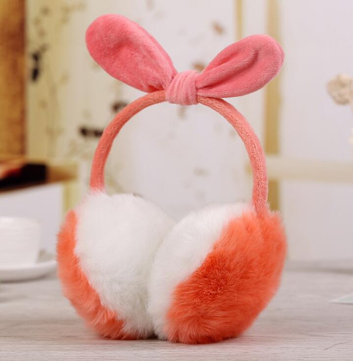 2019New Cute Rabbit Ears Bow Earmuffs Women's Winter Rabbit Hair Like Super Large Ear Warm Earmuffs