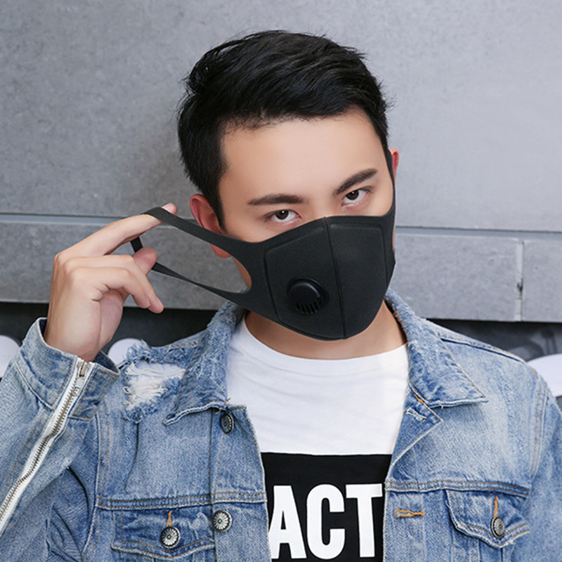 Black Anti Dust Mask PM2.5 Activated Carbon Filter Face Mouth Masks Reusable Mouth Cover Anti Fog Haze Respirator Men Women