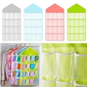 16 Pockets Clear Hanging Bag Socks Tie Bra Underwear Rack Hanger Storage Organizer Foldable Wardrobe Wall Door Back Hanging Bags