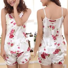 Women's Two-Piece Sleepwear Floral Spaghetti Strap Cami Shorts Nightwear Pajama Set floral front cami top with shorts