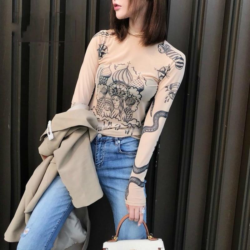 2019 Russia Autumn New Fashion Women Basal Top Goddess Tatoo Print Vintage High Tight Collar Mesh Yarn SEXY Blouse Shirt B666