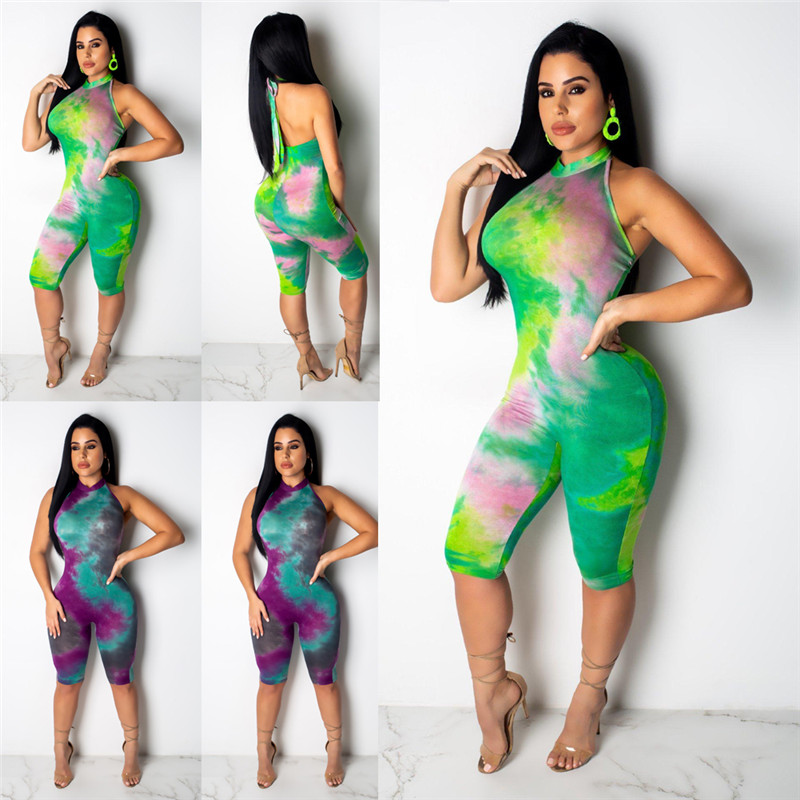 Backless Halter Lace up Women Playsuit 2020 Sexy Jumpsuit Romper Bodycon Playsuit Party Colorful Skinny Bandage Shorts Jumpsuit