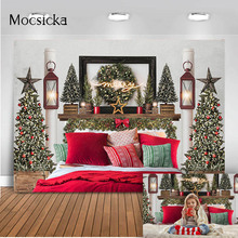 Merry Christmas Photography Backdrop Kitchen Brick Fireplace Photo Booth Background Studio Portrait Christmas Tree Photobooth