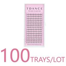 TDANCE 100 ถาด/LOT 16 เส้นสั้น Premade ขนตารัสเซียขนตา Faux Mink Lash