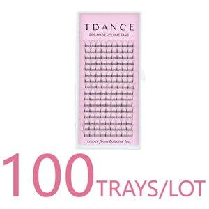 Image 1 - TDANCE 100 TRAYS/LOT 16 Lines Short Stem Premade Lashes Russian Volume Eyelash Extensions Faux Mink Lash Extension