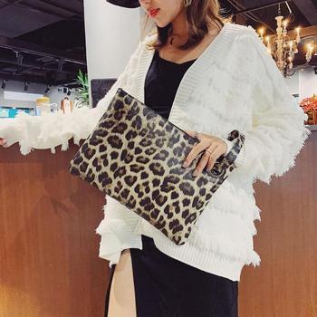 Leopard Print Portable Travel Makeup Bags Large Capacity Clutch Women Casual Zipper Wristlet Wallet PU Leather Coin Purse Pouch Apparels Bags Women's Bags Wristlets