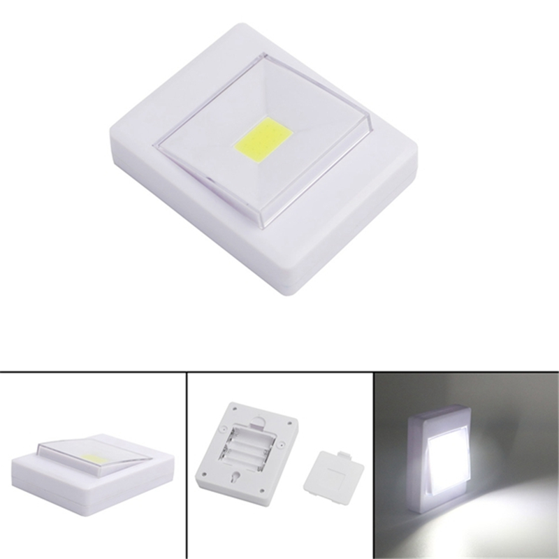 Ultra Bright Magnetic Mini COB LED Wall Light Night Lights Camp Lamp Battery Operated with Switch Magic Tape for Garage Closet