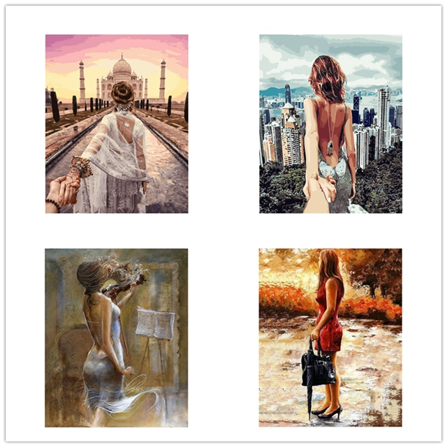 New DIY beautiful Girl Drawing Landscape Oil Acrylic Painting By Number on Canvas Framed Wall Picture Art for Home Decor