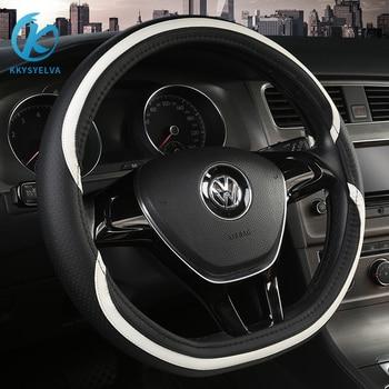 KKYSYELVA D Shape Steering-Wheel Black Auto Car Steering Wheel Cover Non-slip PU Leather 38CM wheel cover Interior accessories