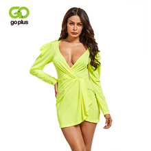 GOPLUS Fluorescent Green Womens Dress Sexy V neck Puff Sleeve Mini 2019 Bodycon Party Summer Dresses Clothing For Women