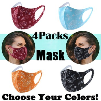4pcs/lot Adult Face Cover Masks Printed Washable Reusable For Outdoor Sports Running mascarilla lavable