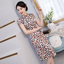 Spring and summer 2020 new single layer silk cheongsam dress improved retro a open button fashion leisure high end women