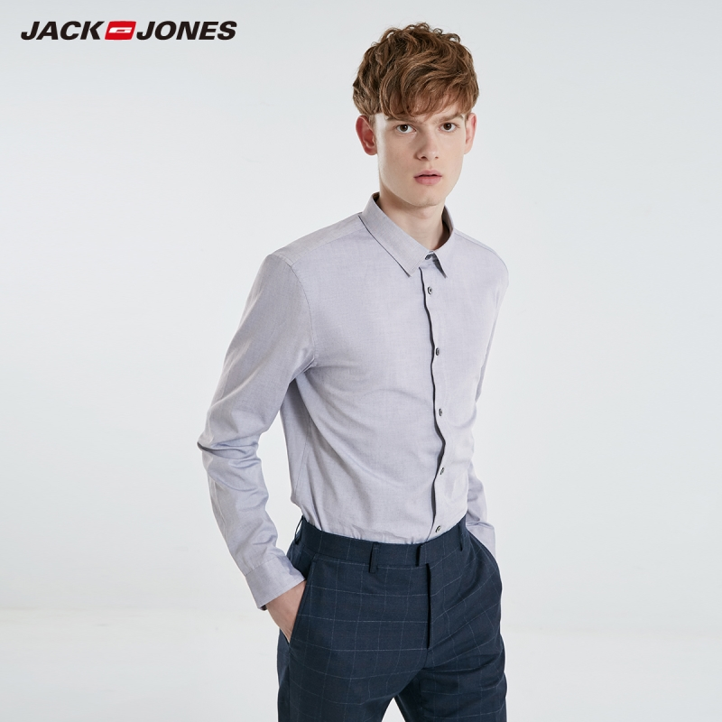 Jack Jones Men's Solid 100% Cotton Long Sleeved Shirt Business Casual JackJones Menswear Basic 219105505