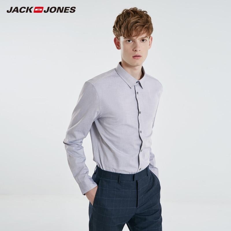 Jack Jones Men's Solid 100% Cotton Long Sleeved Shirt Business Casual JackJones Menswear Basic 219105505