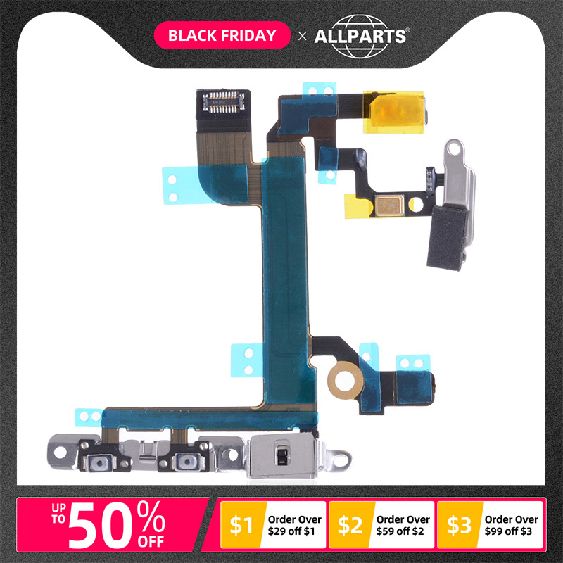 With Bracket Power Volume Button Flex Cable For IPhone 5se 5 SE IPhone5SE Flex Cable With Microphone Parts