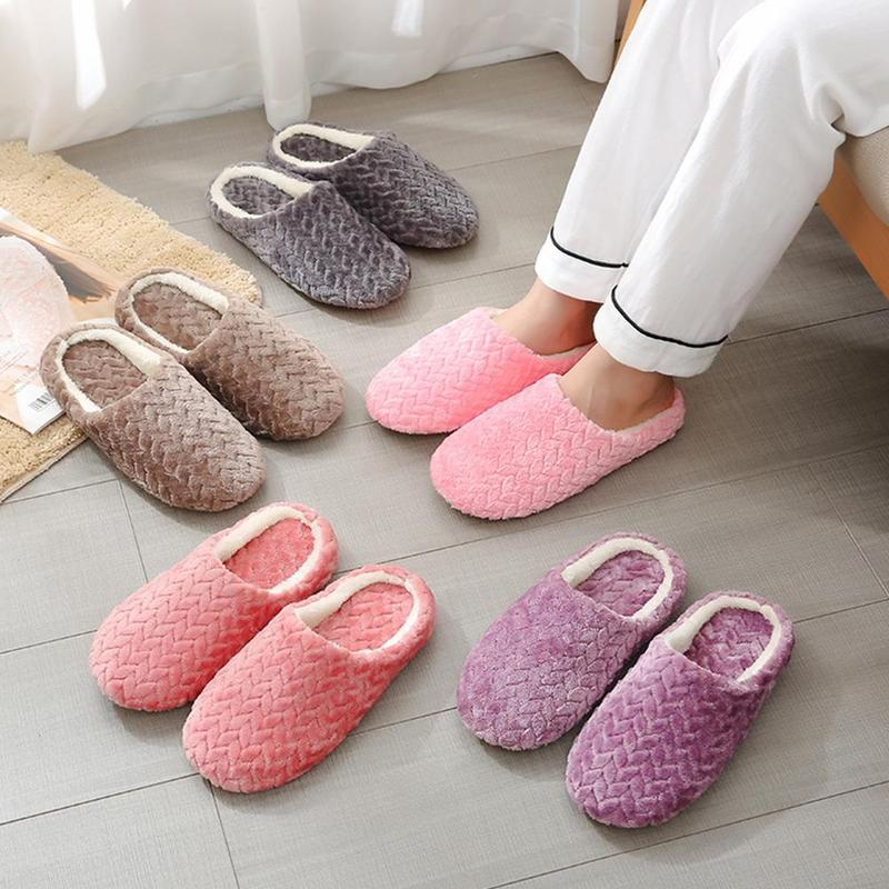 Women Slippers Indoor Slip-on Slides Cotton Men Slippers Fur Slides Fluffy Slippers Bottom Soft Home Shoes Comfortable Shoes