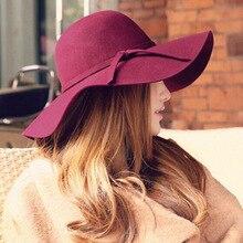 Winter Wide Brim Vintage Wool Hats Women Fedora Hat Elegant Korean Fashion Red Causal Black Party Ladies Bowler fascinator