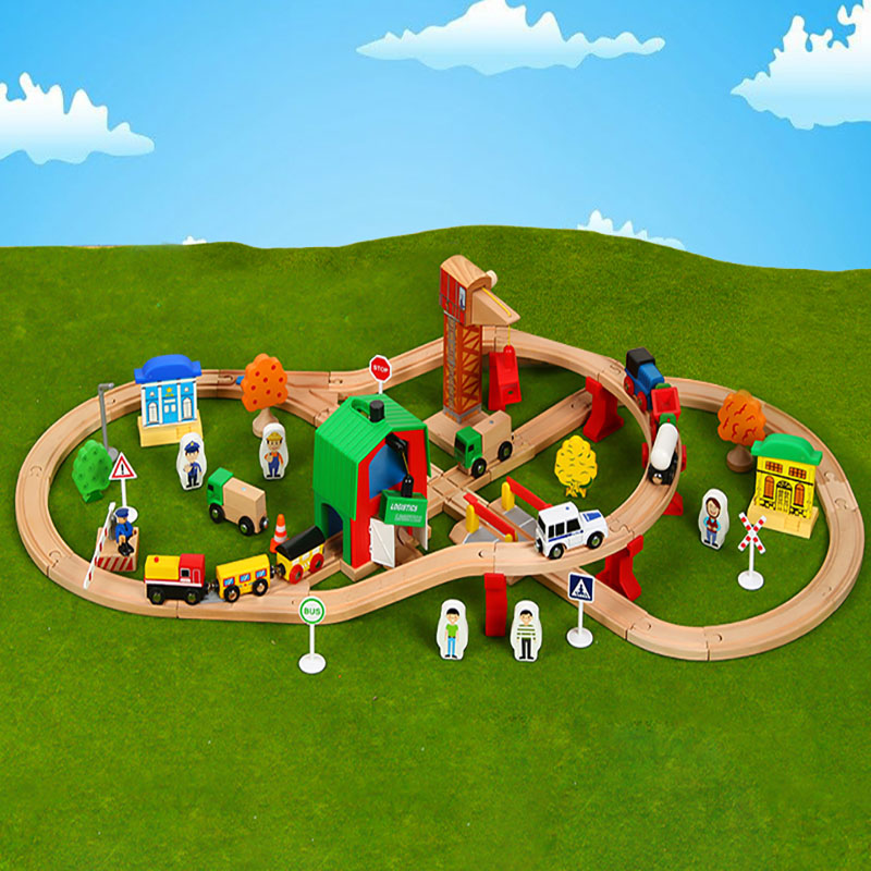Wooden Train Track Set Kids Wooden Railway Puzzle Slot Transit Wood Rail Transit Wood Train Railway Electric Toy Trains For Kids