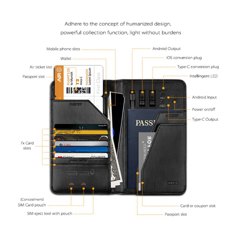Smart Passport Holder Wallet Phone Charging PU Leather ID Credit Card Case Protector Purse X7XC