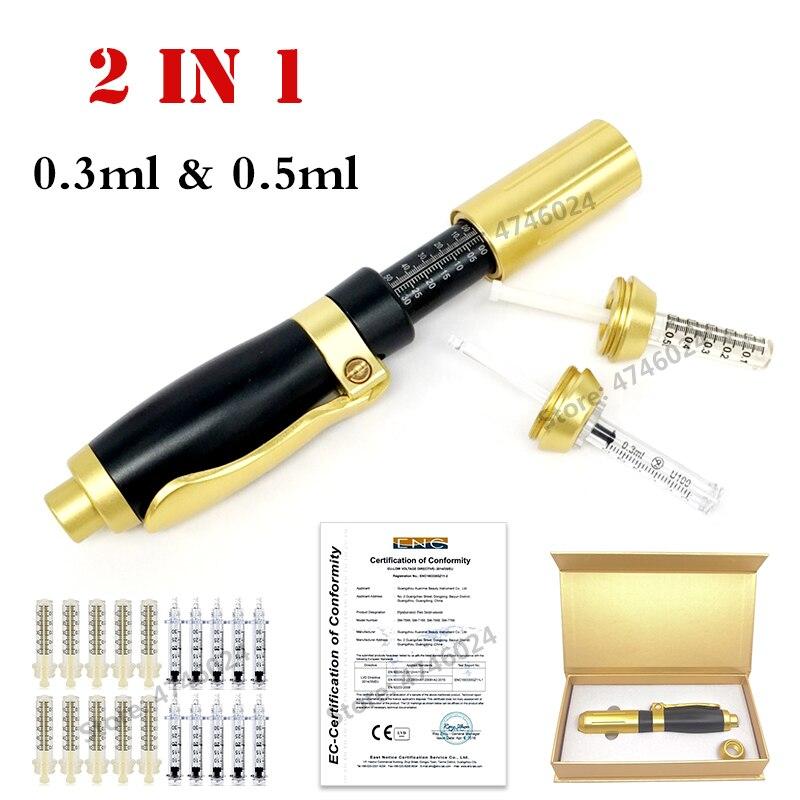 2 In 1 Noninvasive Nebulizer Meso Injection Gun Hyaluron Pen 0.3ml & 0.5ml Two Head Gold Hyaluronic Acid Pen Lip Filling Injecto
