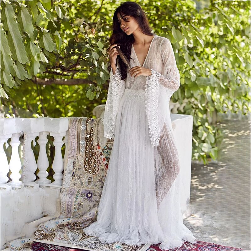 Illusion Boho Women Long Wedding Dresses 2020 Wedding Gown Gongbaolage V Neck Lace Bohemian Slim Fit Party Sexy Bride Dress