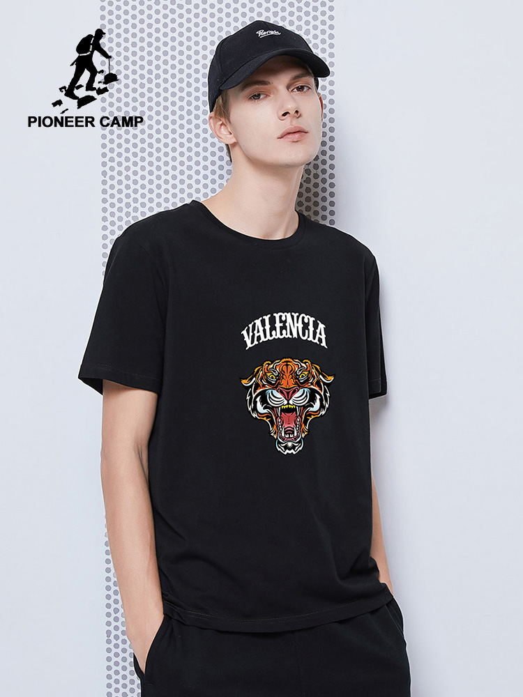 Pioneer Camp New 100% Cotton T-shirts Men Summer Tiger Printed Streetwear Black Blue Gray Tshirts For Male ADT0206029H