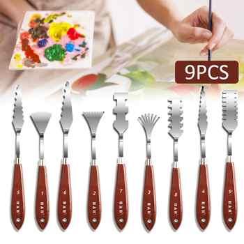 9 Pcs Stainless Steel Palette Scraper Set for Artist Oil Paint Color Mixing/paint Palette Knives