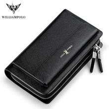 WilliamPolo Luxury Brand Leather Wallets men Long Zipper Coi