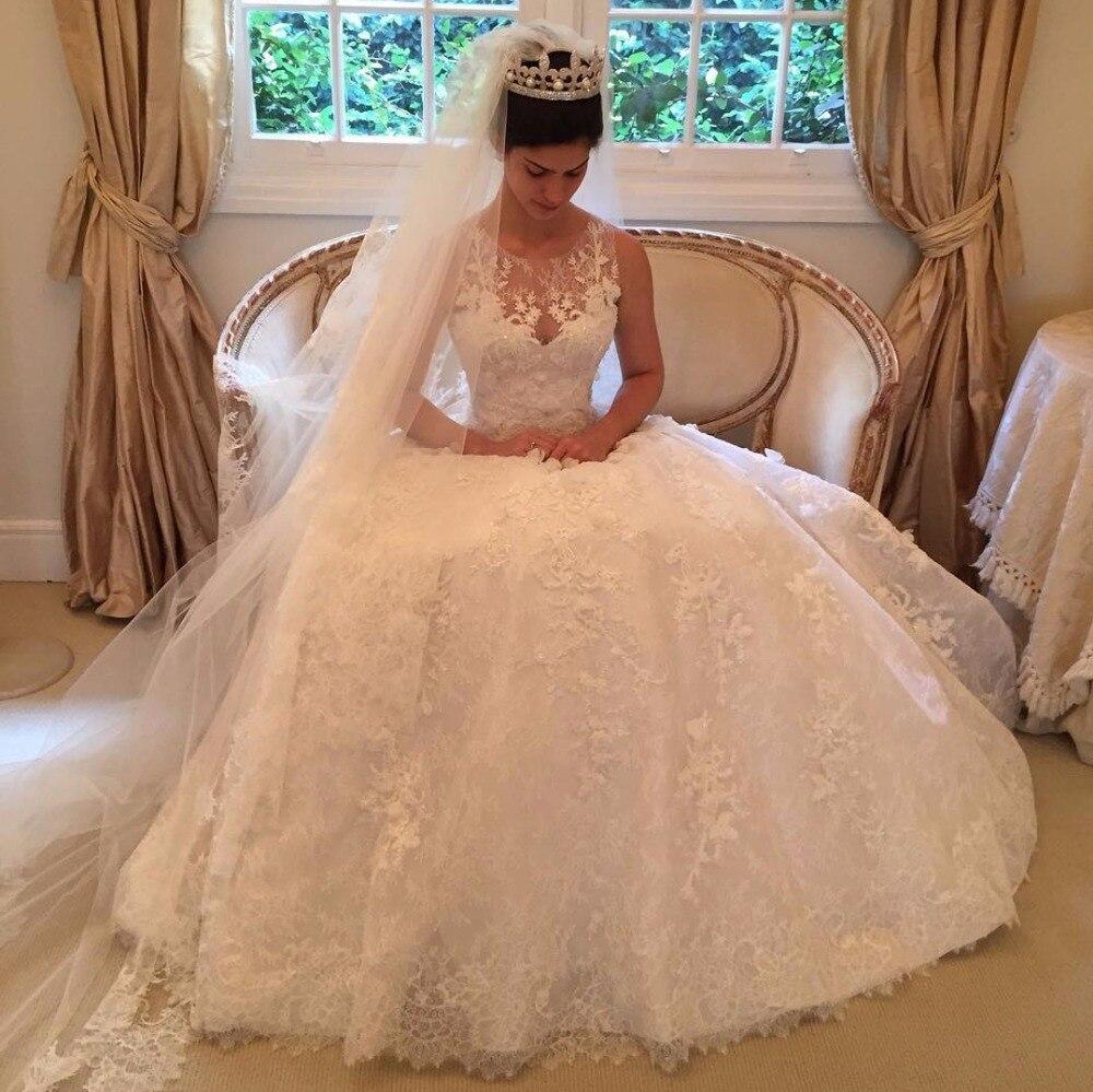 Vintage Flower Appliques Lace Princess 2018 Elegant Bridal Gown Vestido De Noiva Robe De Mariee Mother Of The Bride Dresses