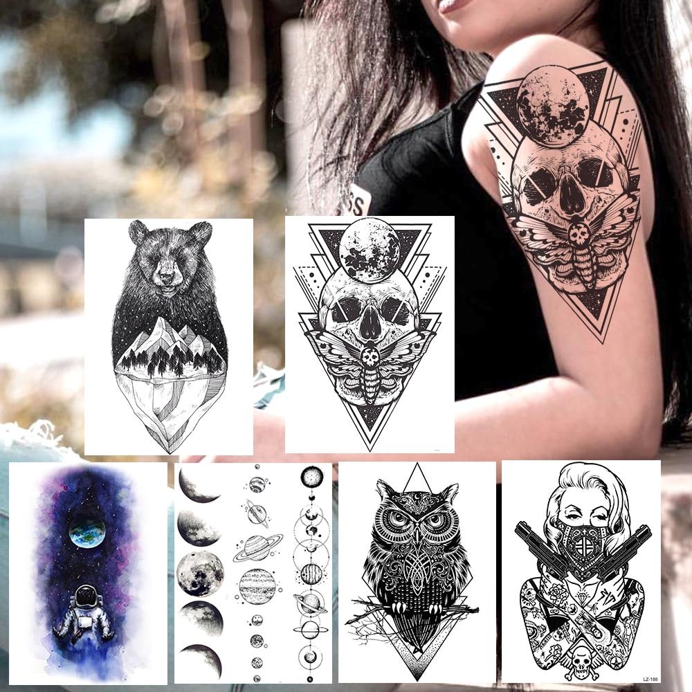 Creative Death Skull Temporary Tattoos Sticker For Women Men Body Art Arm Tatoos Fake Geometric Black Planets Owl Ganster Tattoo(China)