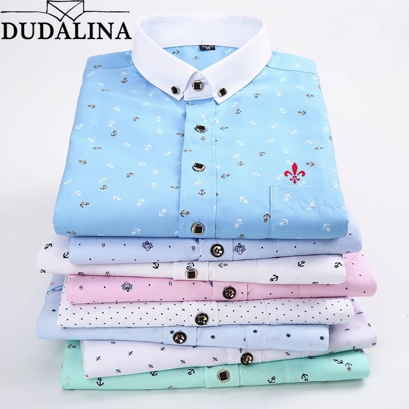Dudalina Camisa Social Mascul Manga Longa Print Casual Men Long Sleeve Shirt Pocket Design Soft Comfortable Men Dress Slim Fit