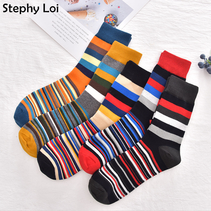Color Stripe Men Cotton Casual Crew Socks 5 Pairs High Quality Dress Brand Designer Gift Pack Lot Cool Black Happy Sox Harajuku