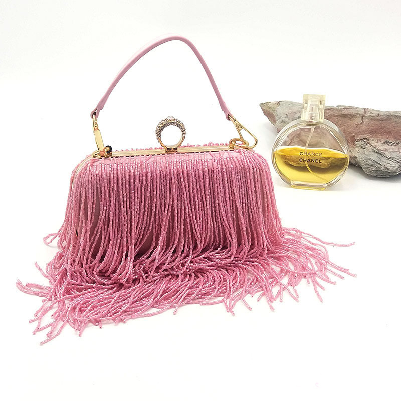 party Beaded bags wedding top handle pink evening