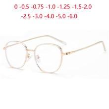 Dorado transparente Marco de bloqueo de luz azul ronda anteojos recetados TR90 Short-Sighted espectáculo dioptrías 0-0,5-0,75-6