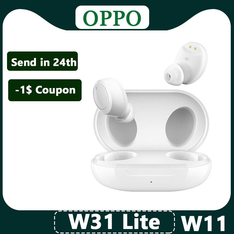 Оригинальные беспроводные наушники OPPO Enco W31 Lite W11, TWS Bluetooth наушники с улучшенными басами, водонепроницаемость IP55 для Reno 4 Pro 3